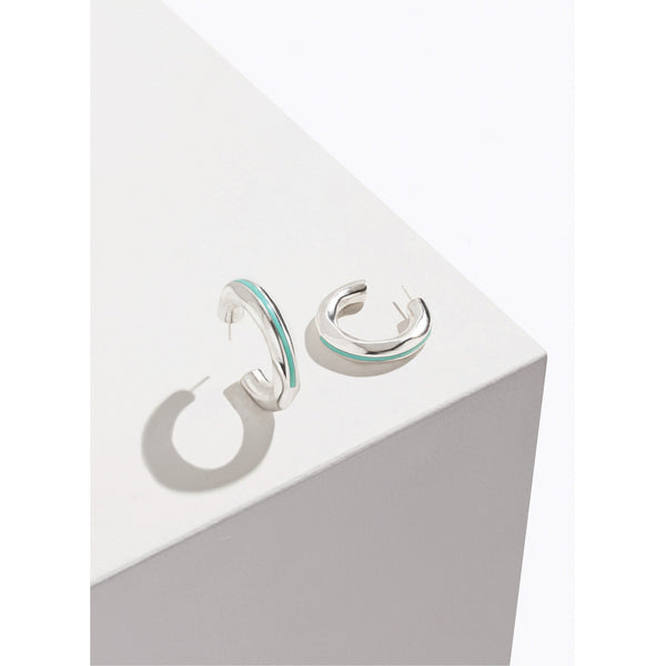 Pamela Love Turquoise Inlay Georgia Hoops