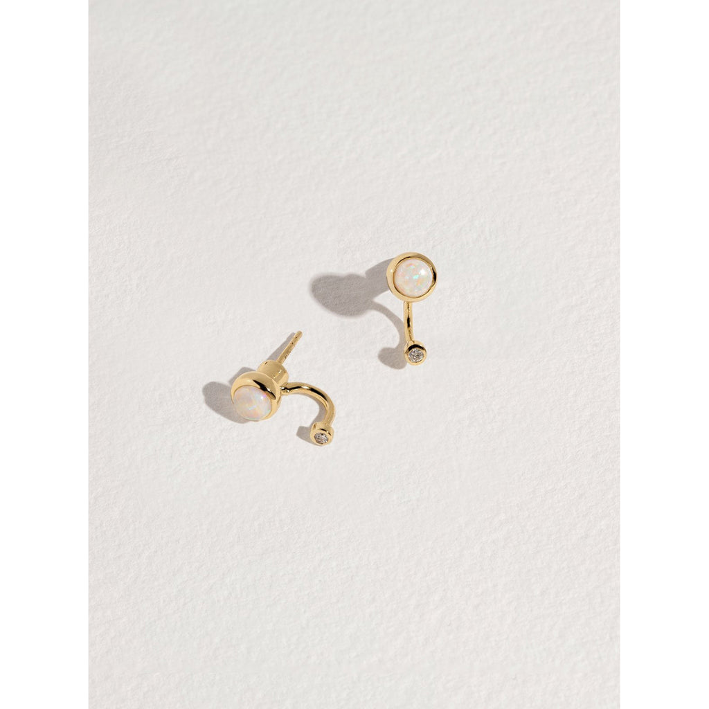opal & diamond gravitation earrings in 10K gold