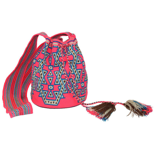 Neon Peach Large Wayuu Bag