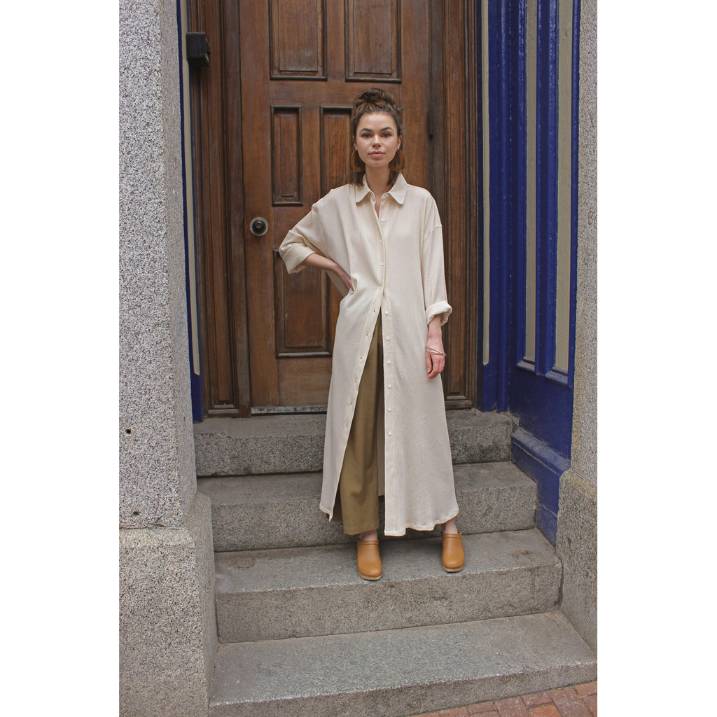 belted shirt dress in beige