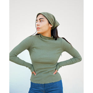 marieta top in moss hemp rib