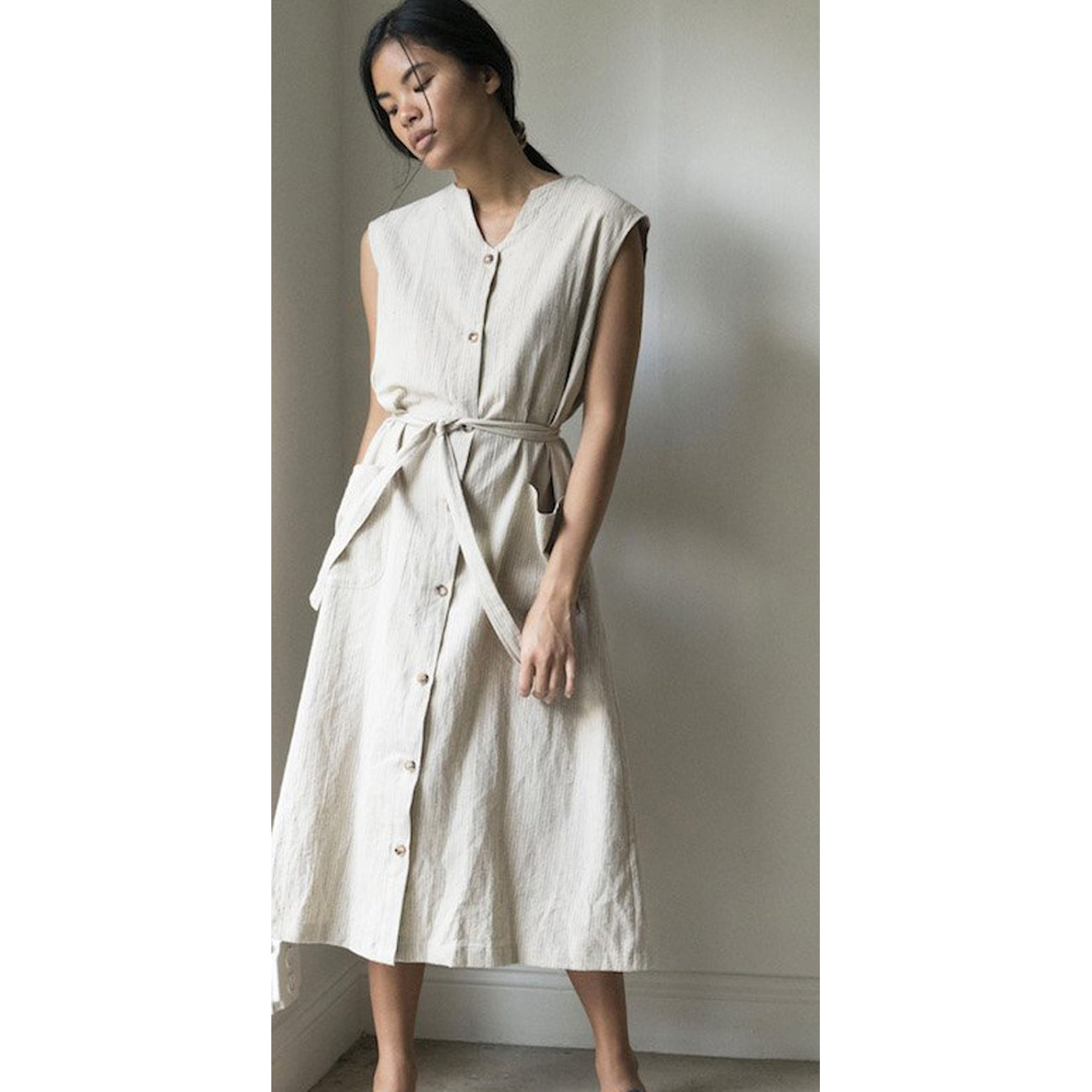 suni dress in japanese stripe