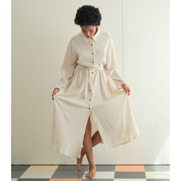 Sunja Link Belted Shirt Dress in Beige