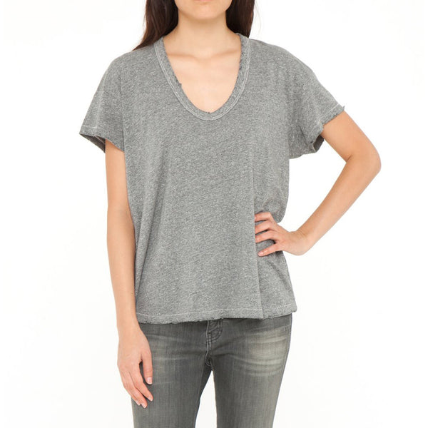 The Great U- Neck Tee in Heather Grey