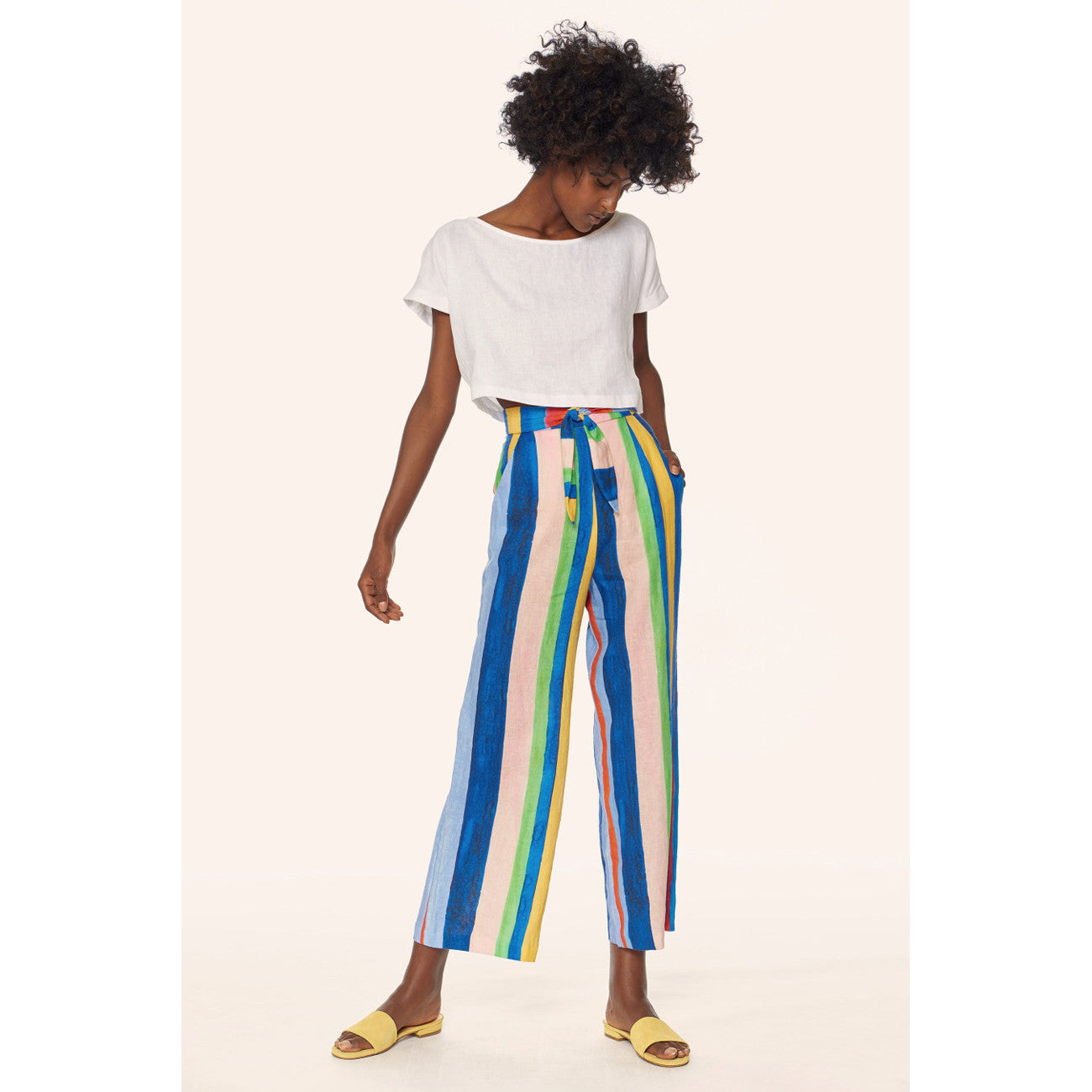 Mara Hoffman Tie Front High Waisted Cropped Pant