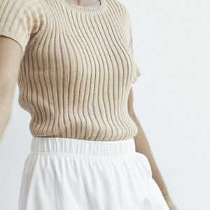 rib sweater tee in sand