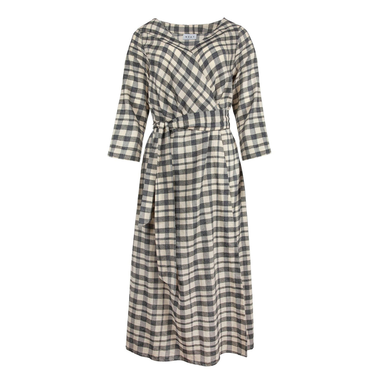 wrap dress in grey check