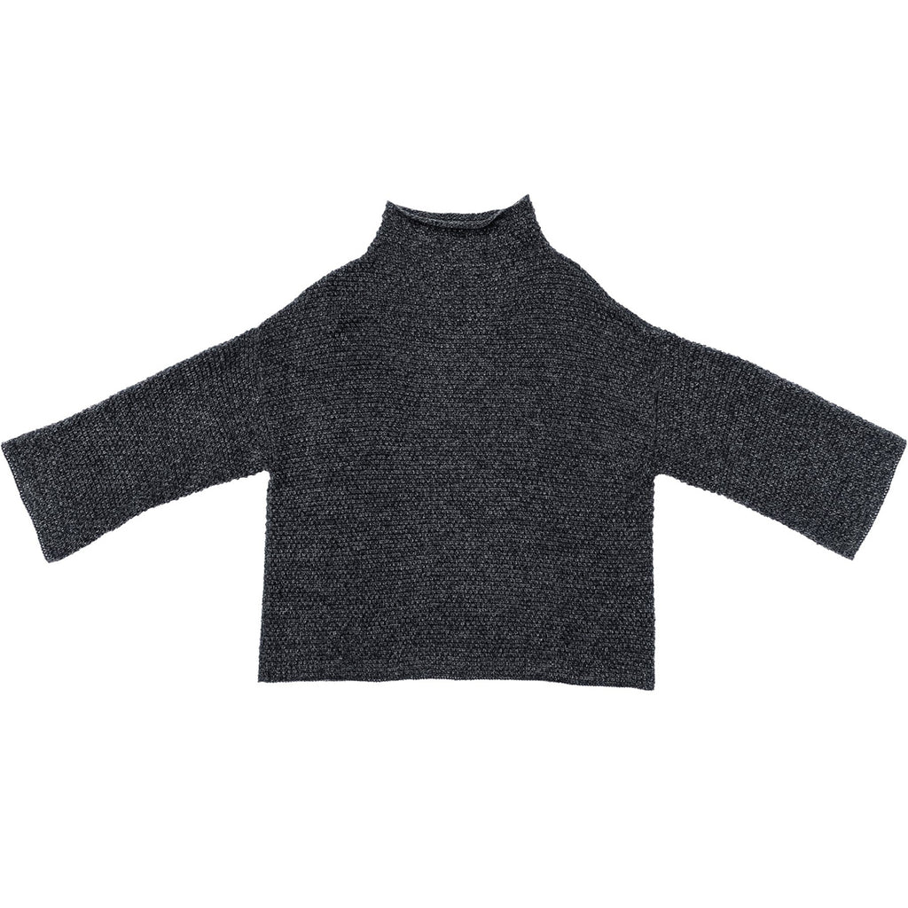 mock turtleneck in charcoal melange