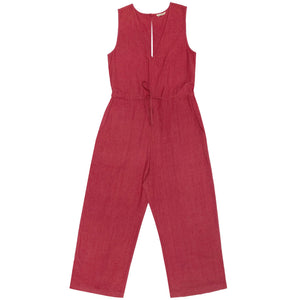 silk slit-back jumper in raspberry