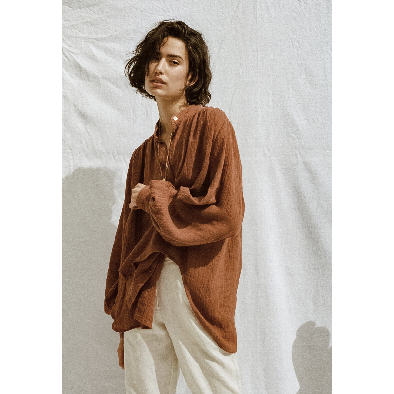 edie shirt in ochre