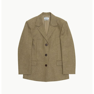 three button jacket in olive
