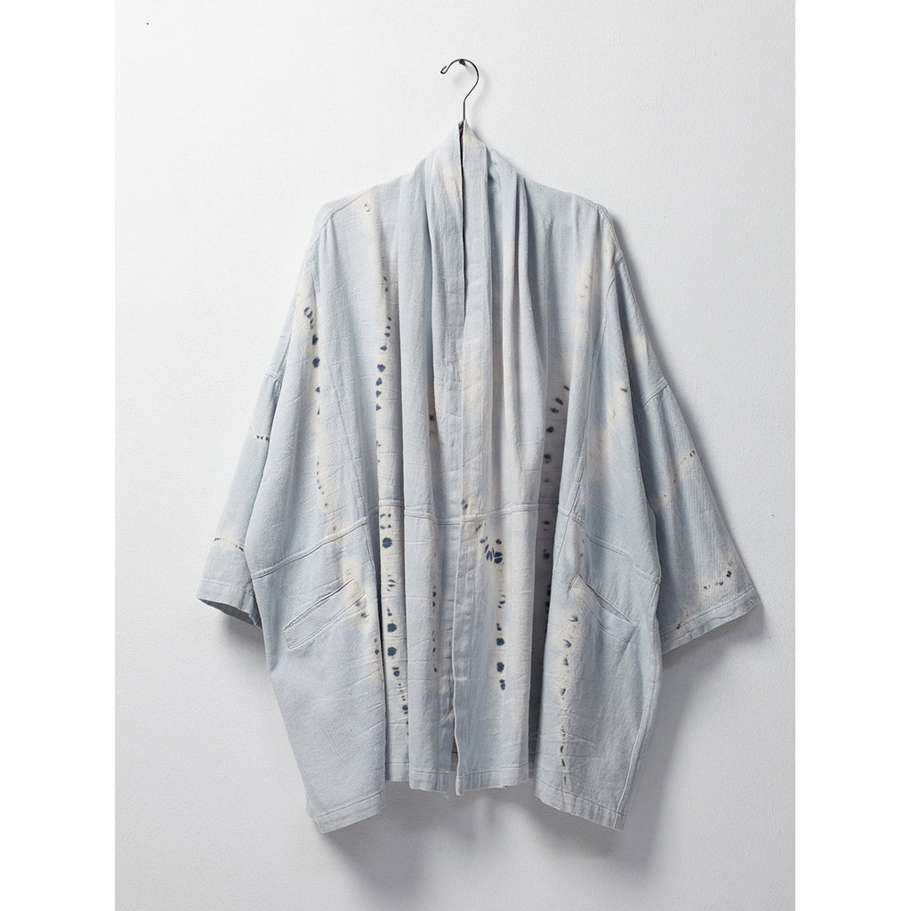 haori coat in ice wash tie dye