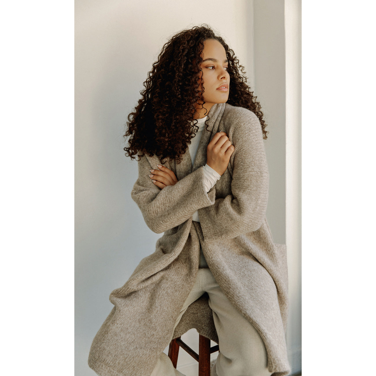 house coat in fawn melange