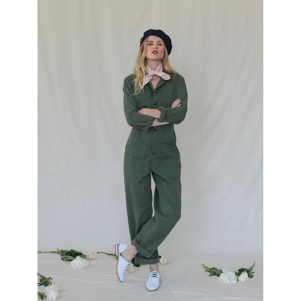 Bliss and Mischief Long Flight Suit in Army Green