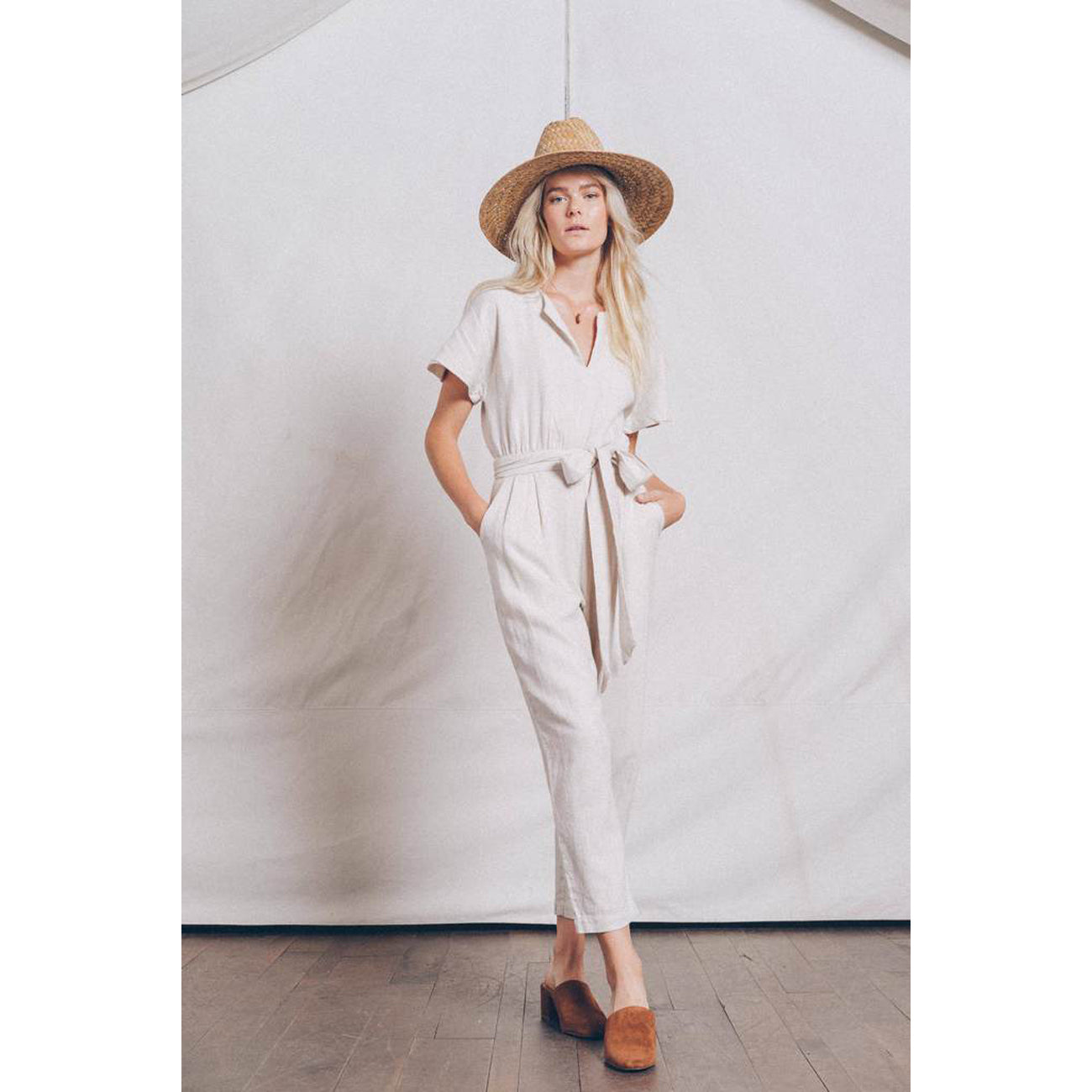 Birds Of Paradis Brooke Dolman Sleeve Jumpsuit in Natural