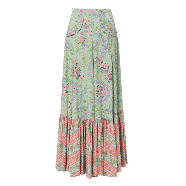 Spell and The Gypsy Collective City Lights Maxi Skirt in Sage