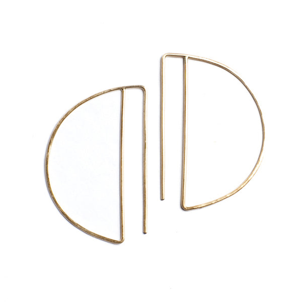 Lila Rice Deco Hoops in 14k Gold