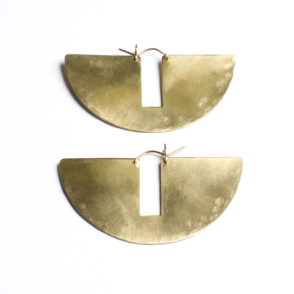 Lila Rice Small Gap Hoops in Brass
