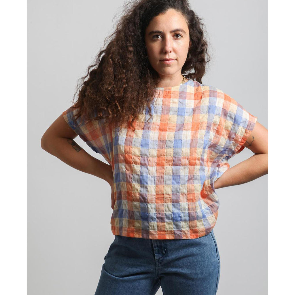 lotte top in peach plaid