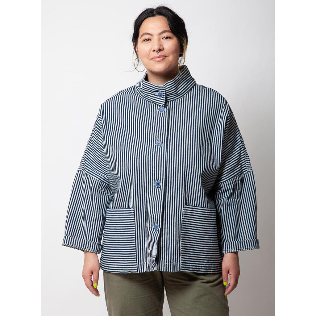 marram jacket in conductor stripe