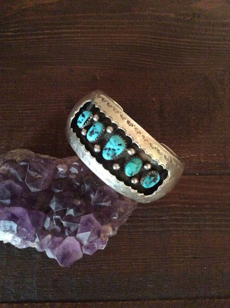 Native American Turquoise Shadow Box Cuff