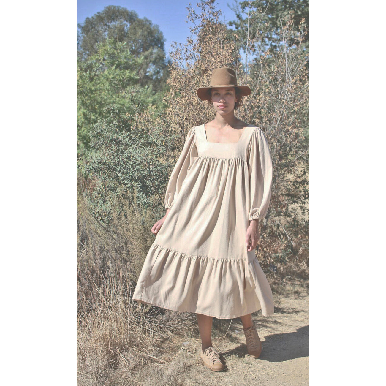 tia dress in sand silk