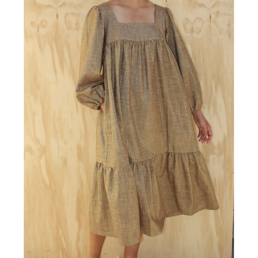 tia dress in bronze lurex