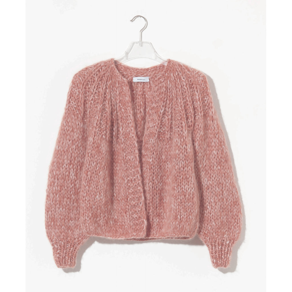 mohair melange cardigan in antique pink/creme