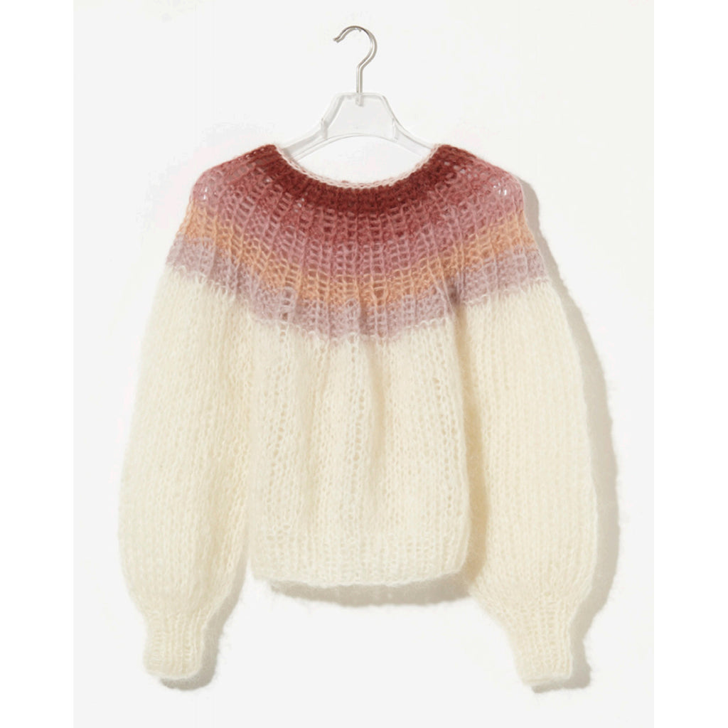 mohair pleated sweater in creme