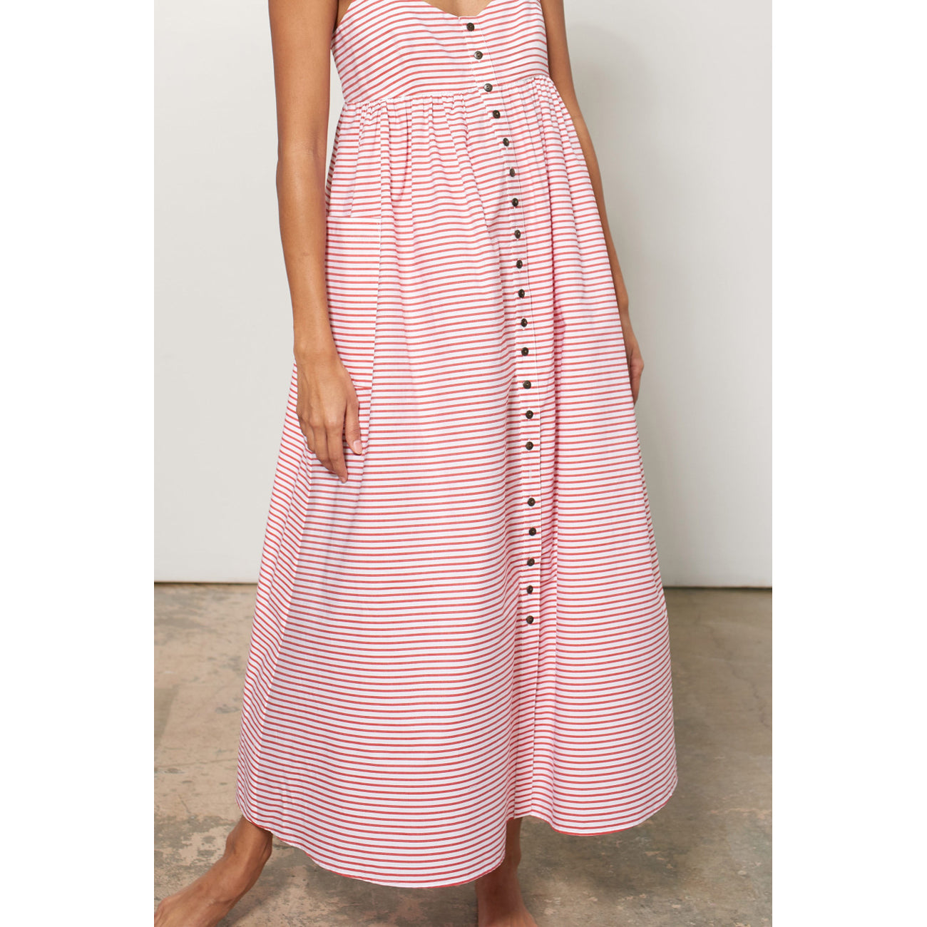 Mara Hoffman Orla Dress in Red & White Cabana Stripe