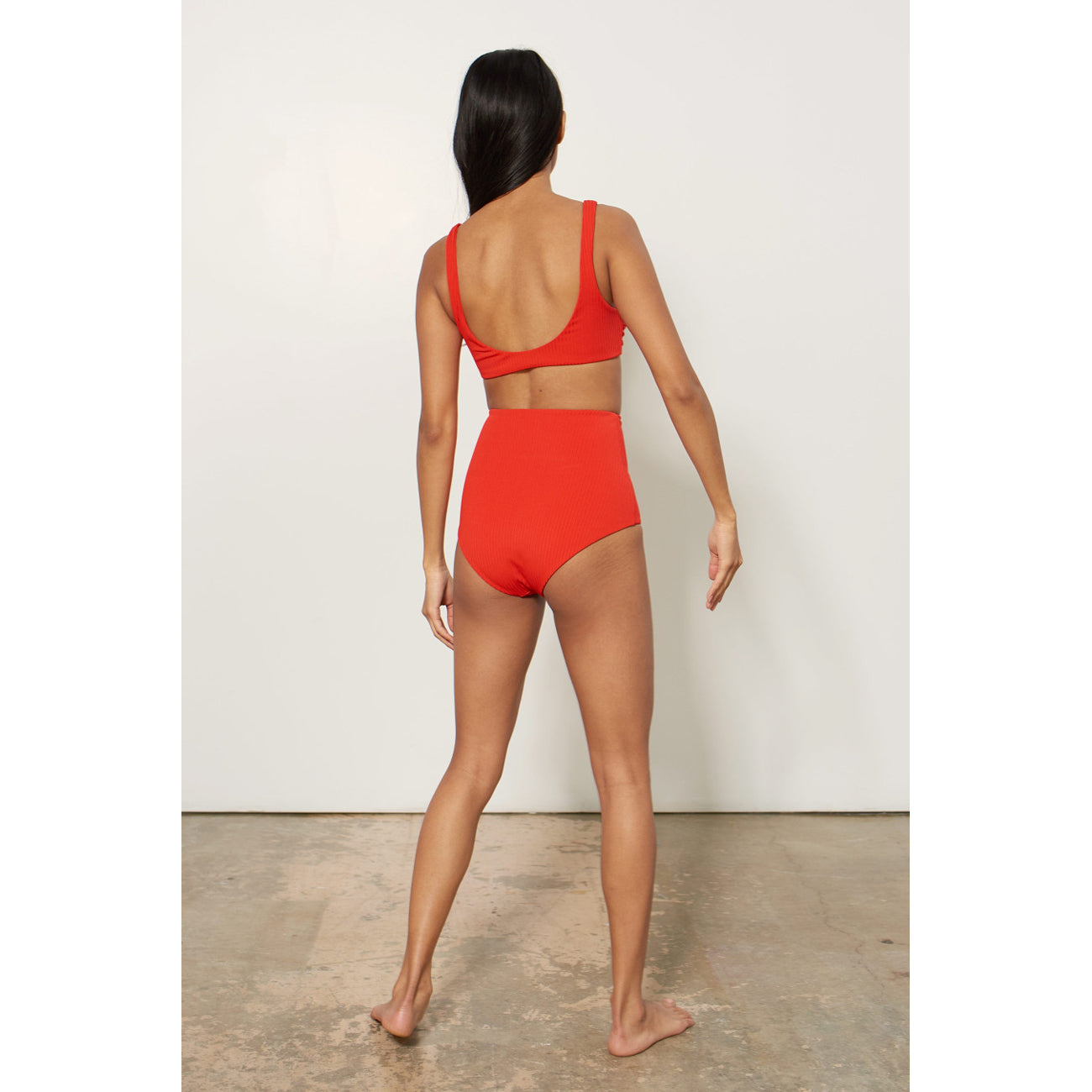 Mara Hoffman Red Rib High Waisted Bikini