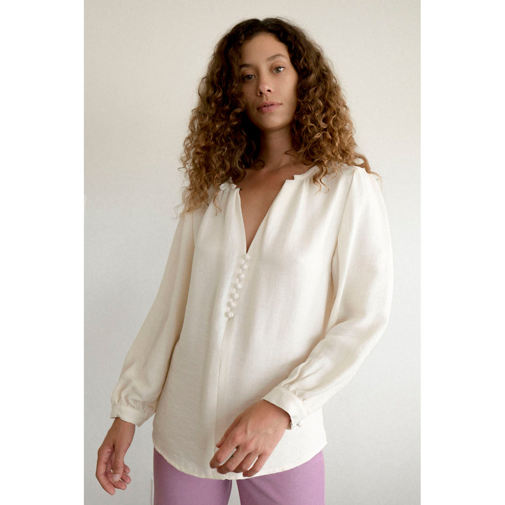 almond blouse in bone