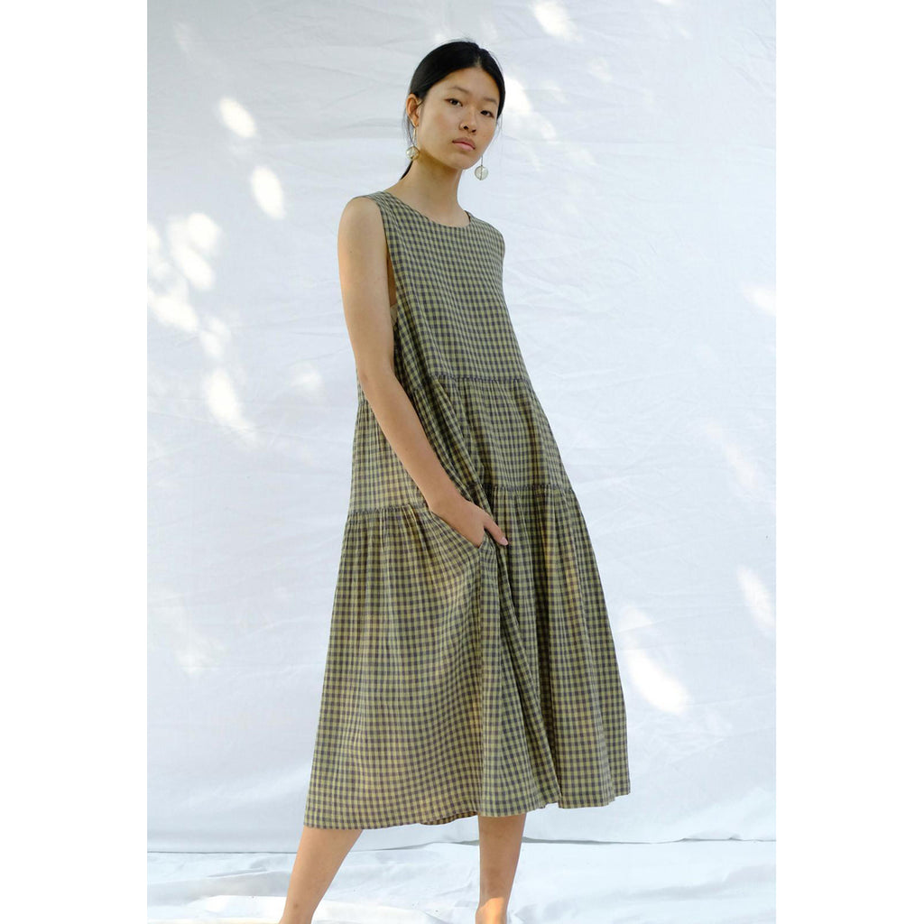 tier dress in gingham