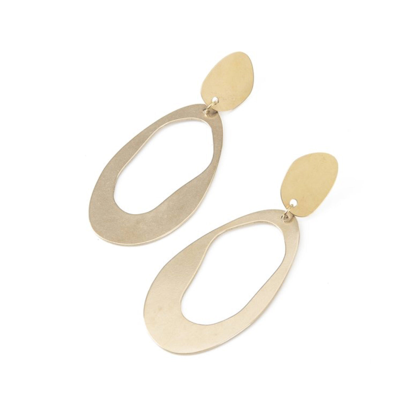 large oval loop earrings in brass