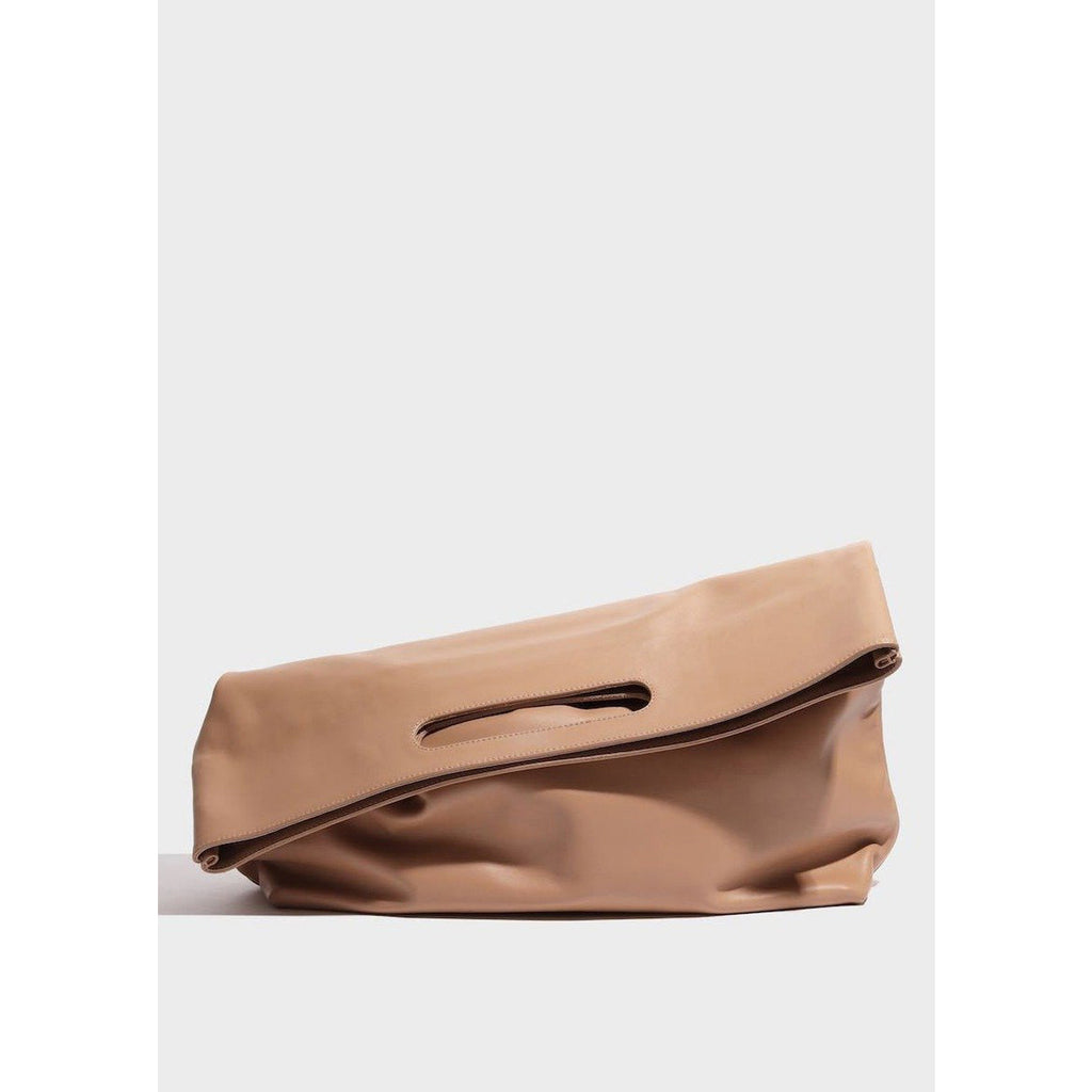 slouch foldover clutch in dune