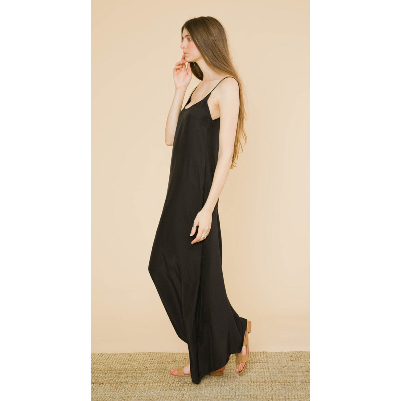 heather maxi in black silk