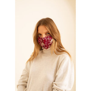 face mask in vintage flowers red