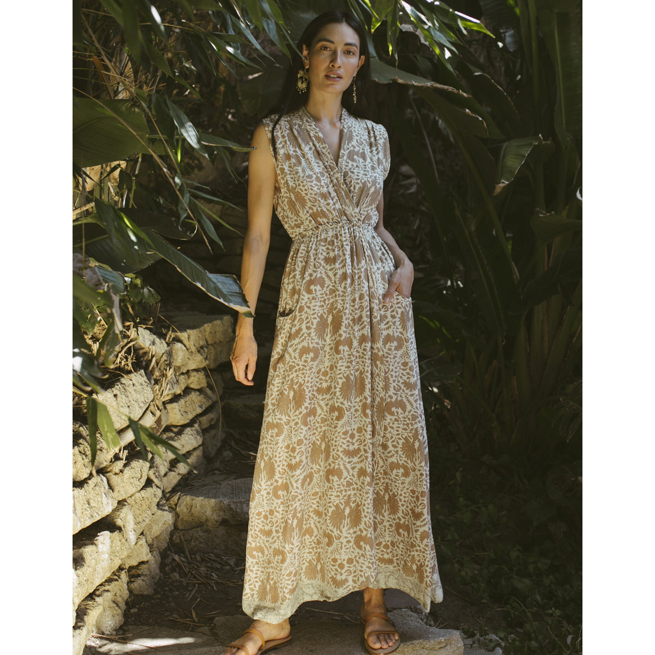 nico dress in wing print paros tan