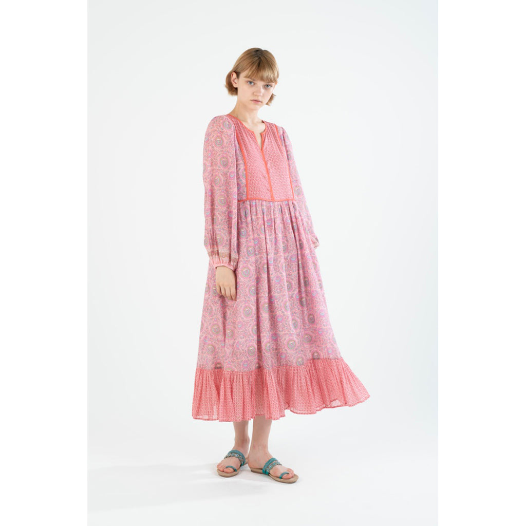 ethnic print frilled dress in pink