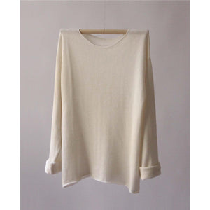long sleeve silk t shirt in natural