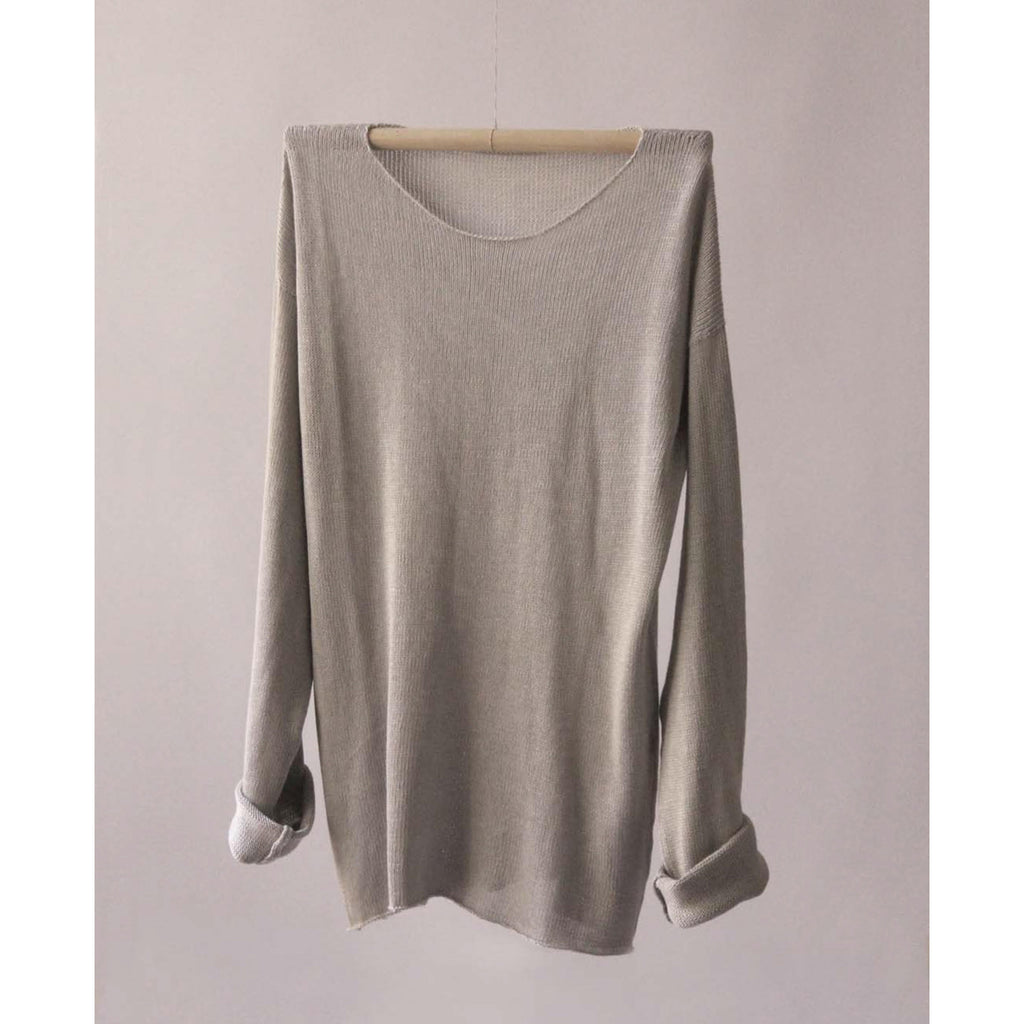 long sleeve silk t shirt in grey