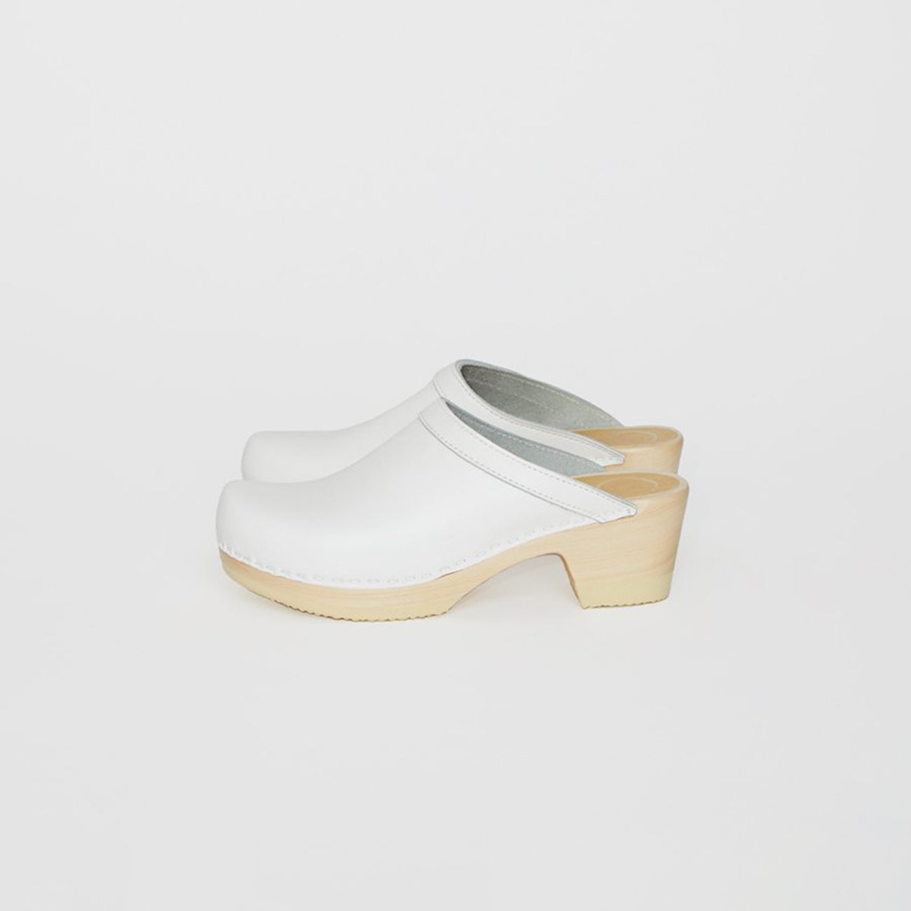 old school clog on mid heel in white