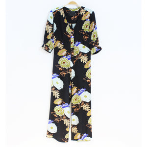 francesca jumpsuit in black/blue hyacinth