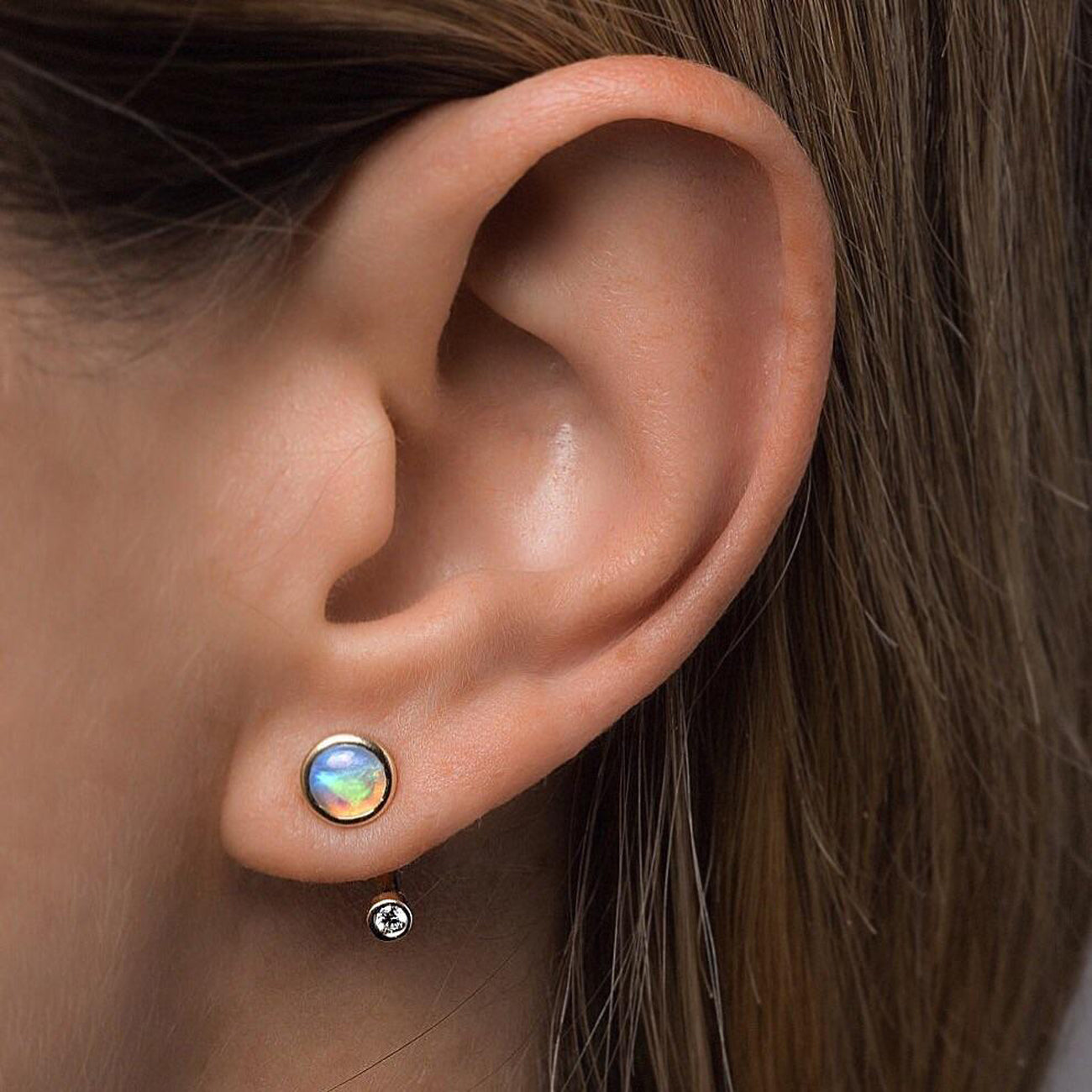 Pamela Love Gravitation Earring in 10K Gold with Opal and White Diamonds