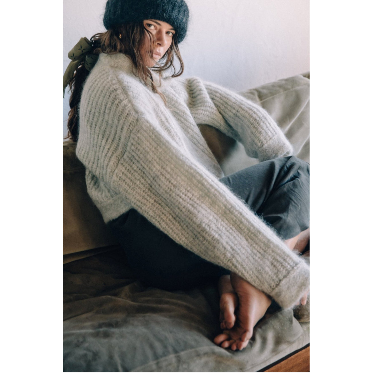 Ozma Big Zip Up Sweater in Fog