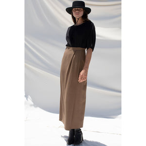 herringbone wrap skirt in earth