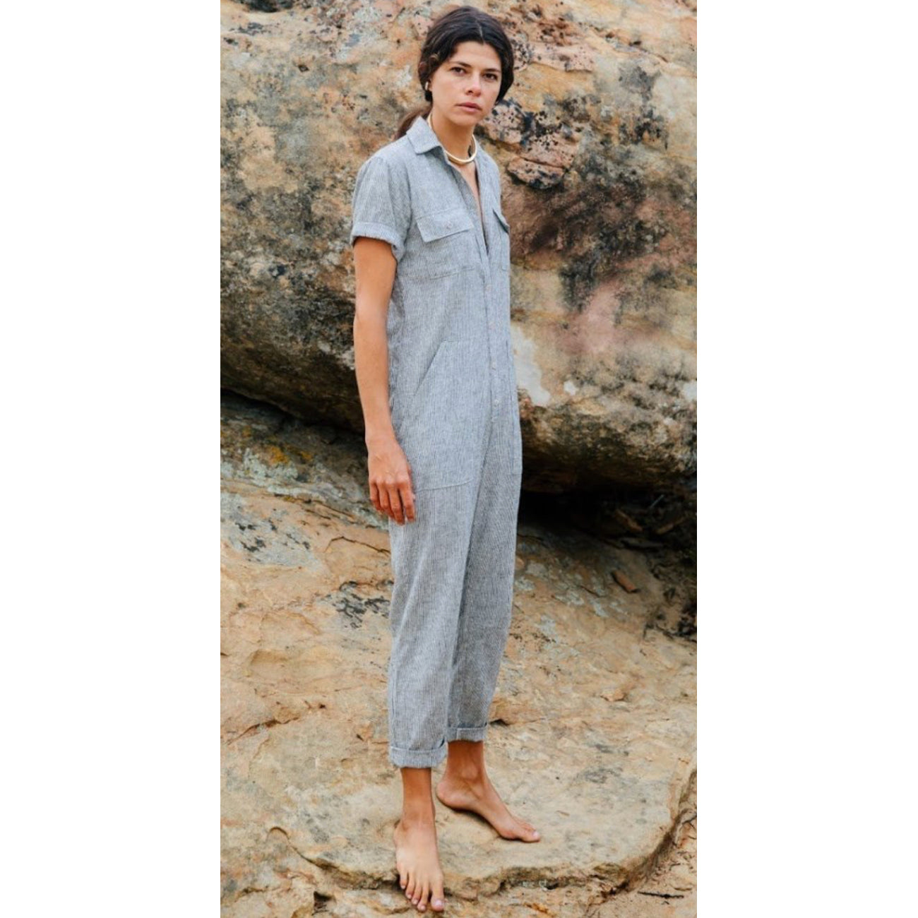 Ozma Painter's Jumpsuit in Ticking Stripe