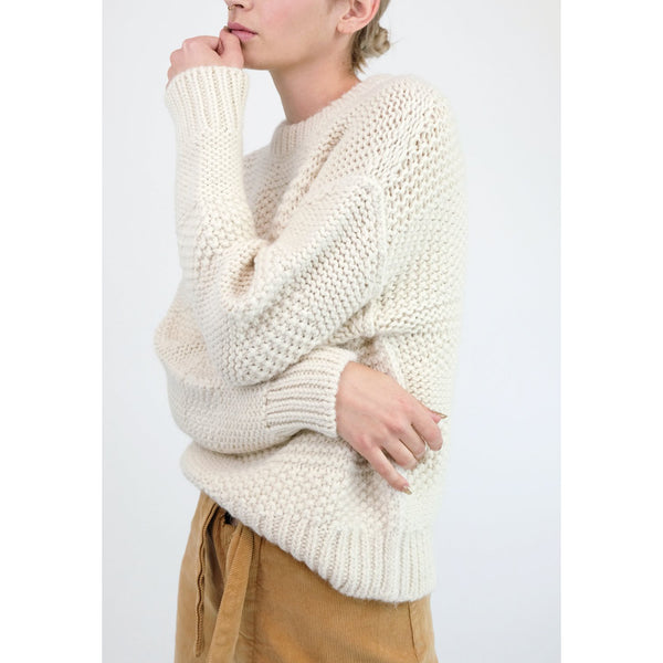 Micaela Greg Ply Knit Pullover in Cream