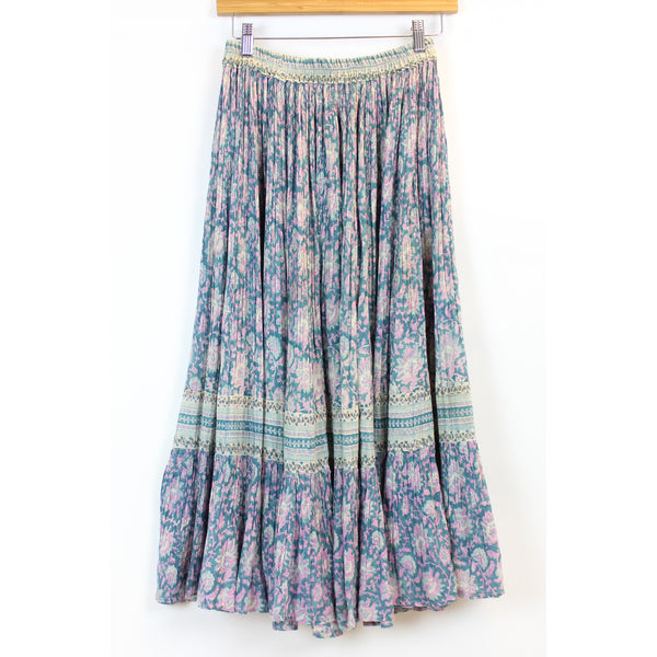 Indian Gauze Blue Floral Skirt