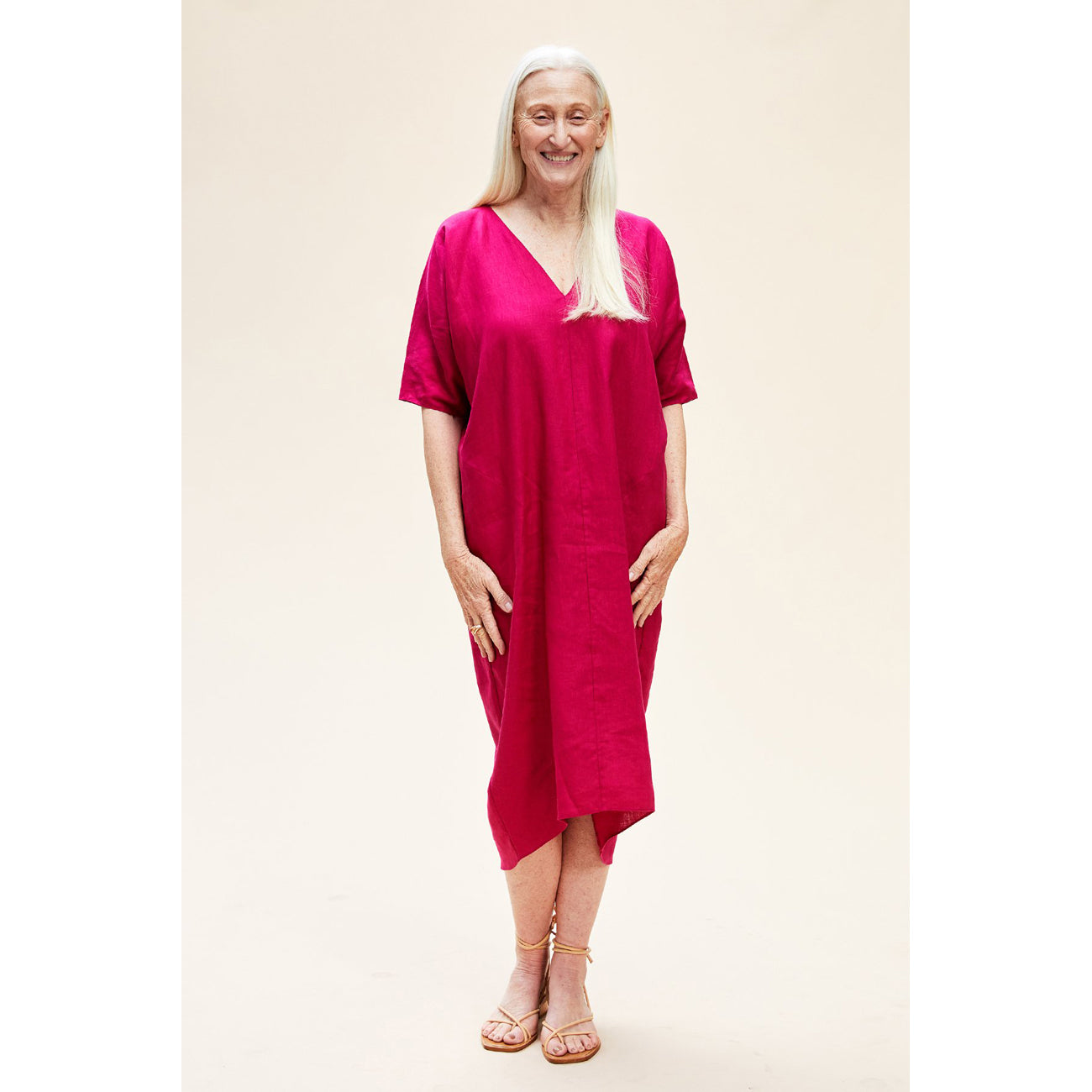 patmos dress in bougainvillea, sea